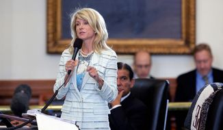 Wendy Davis during her filibuster, June 25, 2013.     Associated Press photo