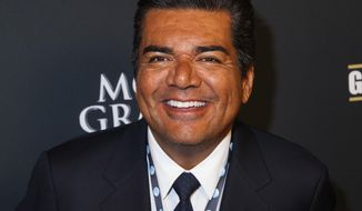 FILE - In this Sept. 14, 2013 file photo, George Lopez arrives at the VIP Pre-Fight Party for the One: Mayweather vs. Canelo Fight at the MGM Grand Garden Arena in  Las Vegas. A Canada casino says a performance by the comic Lopez will go on as scheduled Friday, Feb. 28, 2014, after he was arrested for alleged public intoxication. Ceasars Windsor spokeswoman Jhoan Baluyot says the show is continuing as planned. (Photo by Eric Jamison/Invision/AP, file)