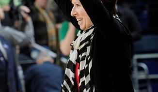 Notre Dame coach Muffet McGraw reacts after an NCAA college basketball game with Duke Sunday, Feb. 23, 2014 in South Bend, Ind. Notre Dame won 81-70. (AP Photo/Joe Raymond)