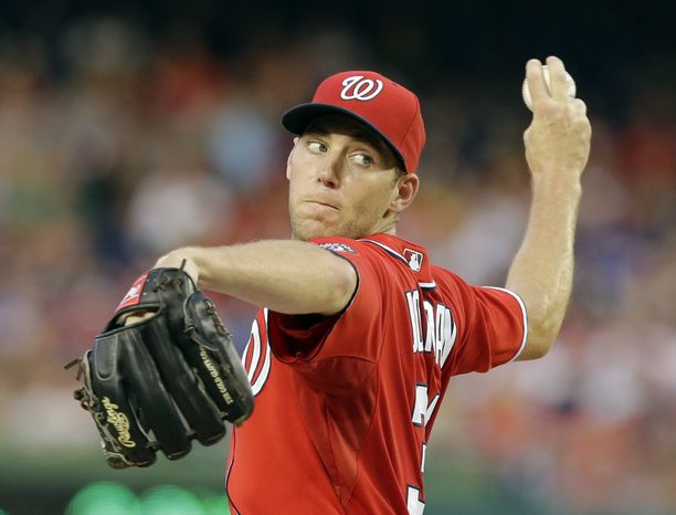 **FILE** Washington Nationals starting pitcher Taylor Jordan (38) throws during a baseball game against the Philadelphia Phillies at Nationals Park Saturday, Aug. 10, 2013, in Washington. (AP Photo/Alex Brandon)