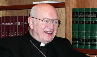 This photo released by the Diocese of Kansas City-St. Joseph shows Bishop Raymond J. Boland.  Boland, the retired leader of the Diocese of Kansas City-St. Joseph, died Tuesday, Feb. 25, 2014,  shortly after returning to his native Ireland to enter hospice care. Boland, who had recently been diagnosed with lung cancer, was surrounded by family when he died in Cork, Ireland, diocese spokesman Jack Smith said. He was 82. (AP Photo/Diocese of Kansas City-St. Joseph)