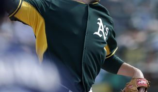 Oakland Athletics relief pitcher Jim Johnson throws against the Milwaukee Brewers during the fourth inning of a spring training baseball game, Thursday, Feb. 27, 2014, in Scottsdale, Ariz. (AP Photo/Gregory Bull)