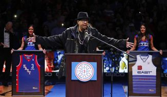 Former Philadelphia 76er Allen Iverson speaks to the crowd during a retirement ceremony at halftime of an NBA basketball game between the 76ers and the Washington Wizards, Saturday, March 1, 2014, in Philadelphia. (AP Photo/Matt Slocum)