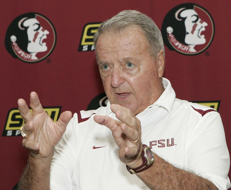 FILE - In this Aug. 9, 2009, file photo, Florida State head coach Bobby Bowden answers questions during media day on in Tallahassee, Fla. On Sunday, March 2, 2014, Auburn coach Gus Malzahn received the Bowden Award named after the ex-Seminoles coach, who coached them to the national title in 1993. (AP Photo/Steve Cannon, File)
