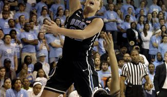 Duke's Tricia Liston shoots as North Carolina's Allisha Gray (15) falls during the first half of an NCAA college basketball game in Chapel Hill, N.C., Sunday, March 2, 2014. (AP Photo/Gerry Broome)
