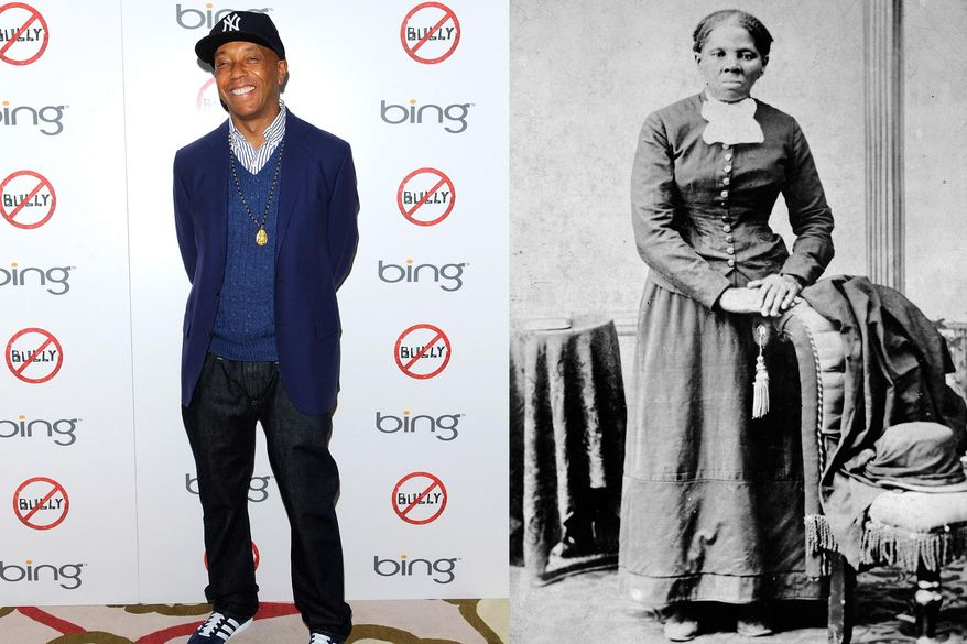 This combination of 2012 and circa 1860-1875 photos shows hip-hop mogul Russell Simmons in New York and abolitionist Harriet Tubman. In 2013, Simmons apologized for posting a parody video of Tubman having sex with her white slave master as someone films it so the abolitionist can bribe her boss. Appearing on his All Def Digital YouTube channel, Simmons said he removed it after a call from the NAACP. (AP Photo/Evan Agostini, Library of Congress)