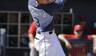 Tampa Bay Rays' Evan Longoria swings at a pitch by Minnesota Twins pitcher Ricky Nolasco in the first inning of a spring exhibition baseball game on Sunday, March 2, 2014, in Port Charlotte, Fla. (AP Photo/Steven Senne)