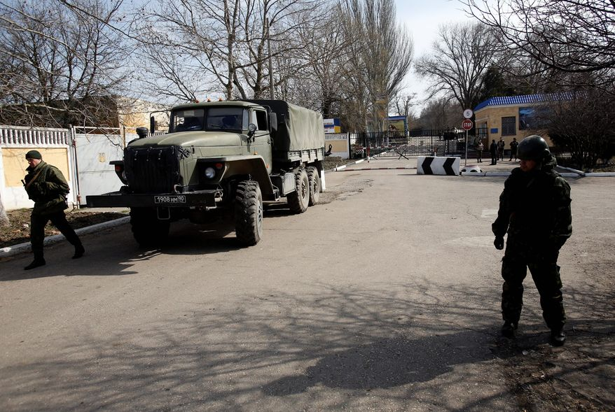 Pro-Russian troops control a ferry terminal on the easternmost tip of Ukraine's Crimea region just 12 miles from Russia, intensifying fears that Moscow will send even more troops into the strategic Black Sea region. (Associated Press)