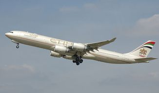 Etihad Airways A340-500 (A6-EHB) takes off from London Heathrow Airport, England. (Wikipedia)