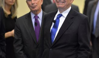 From left, New York Mayor Michael Bloomberg  and News Corporation CEO Rupert Murdoch, react as they are introduced as the guest speakers at the beginning of a  forum on The Economics and Politics of Immigration In Boston, Tuesday, Aug. 14, 2012. (AP Photo/Josh Reynolds)