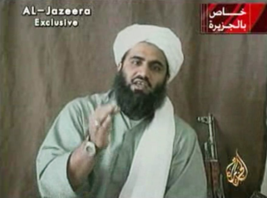 FILE - This image made from video provided by by Al-Jazeera shows Sulaiman Abu Ghaith, Osama bin Laden's son-in-law and spokesman. Abu Ghaith goes to trial Monday, March 3, 2014 in New York on charges that he conspired to kill Americans in his role as al-Qaida's mouthpiece after the Sept. 11 terrorist attacks. He is the highest-ranking al-Qaida figure to stand trial on U.S. soil since the attacks. (AP Photo/Al-Jazeera, File)