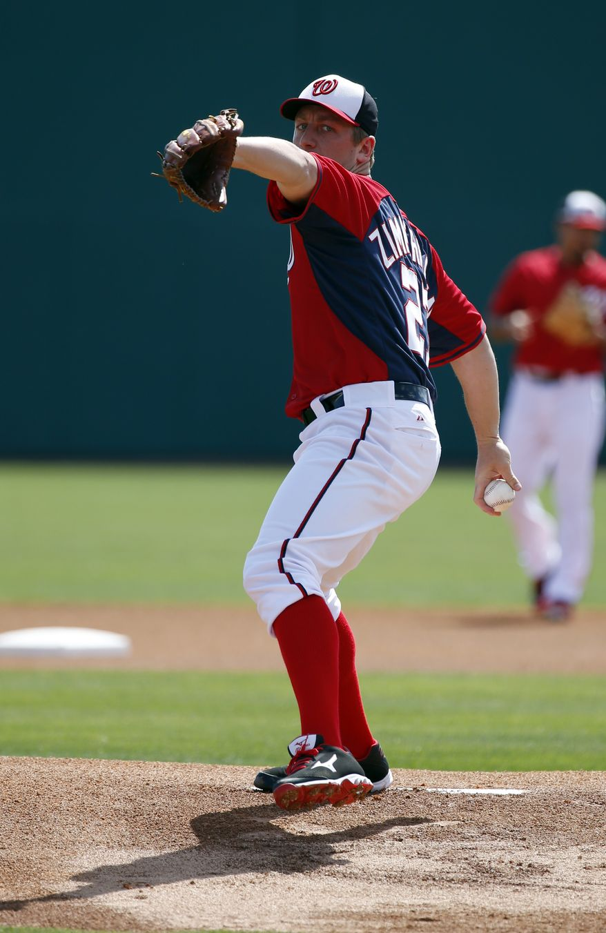 Washington Nationals starting pitcher Jordan Zimmermann (27) warms up in a spring exhibition baseball game against the Atlanta Braves, Saturday, March 1, 2014, in Viera, Fla. (AP Photo/Alex Brandon)