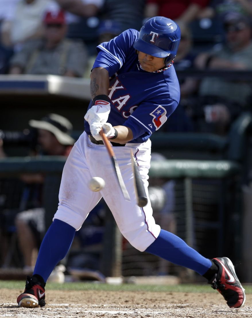 Texas Rangers' Shin-Soo Choo of South Korea breaks his bat on a ground out off a pitch from Cleveland Indians' Vinnie Pestano in the fifth inning of a spring training exhibition baseball game, Monday, March 3, 2014, in Surprise , Ariz. (AP Photo/Tony Gutierrez)
