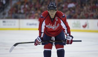 Washington Capitals right wing Alex Ovechkin (8) waits for play to start during the first period of an NHL hockey game against the Philadelphia Flyers on Sunday, March 2, 2014, in Washington. (AP Photo/ Evan Vucci)