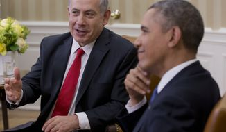 President Barack Obama meets with Israeli Prime Minister Benjamin Netanyahu in the Oval Office of the White House in Washington, Monday, March 3, 2014. Seeking to keep a pair of delicate diplomatic efforts afloat, Obama will personally appeal to Netanyahu to move forward on peace talks with the Palestinians, while also trying to manage Israel's deep suspicion of his pursuit of a nuclear accord with Iran. (AP Photo/Pablo Martinez Monsivais)