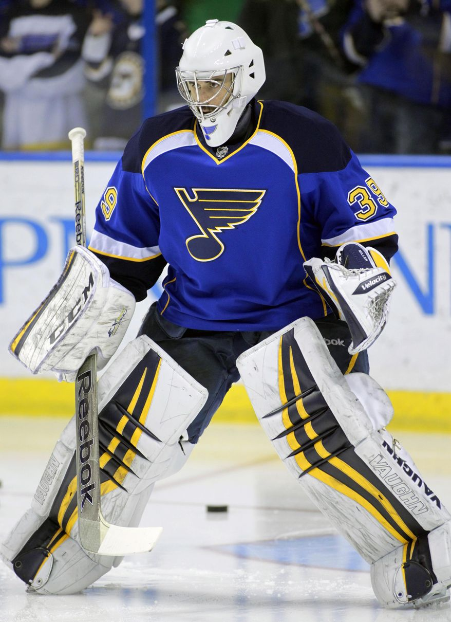 St. Louis Blues goalie Ryan Miller (39) during warm ups, before NHL hockey game against the Tampa Bay Lightning, Tuesday, March 4, 2014 in St. Louis.(AP Photo/Tom Gannam)