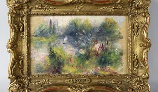 "This undated image provided by the Potomack Company shows an apparently original painting by French impressionist Pierre-Auguste Renoir. A Renoir painting stolen from the Baltimore Museum of Art more than 60 years ago will return to public view later this month. The museum announced Tuesday that Pierre-Auguste Renoir's painting ""On the Shore of the Seine"" from about 1879 will be the centerpiece of a special exhibition March 30 through July 20. It's being reunited with 20 artworks from the collection of Saidie May, who had owned the painting and donated many other works to the museum.  (AP Photo/Potomack Company)"