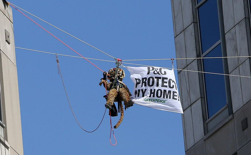 Greenpeace activists, including this one dressed in a tiger suit, rappel and hang banners in protest of Procter & Gamble outside of the company's headquarters, in downtown Cincinnati, Tuesday, March 4, 2014. The environmental organization says the 60-foot banners on P&G's two towers were in protest of the consumer products company's use of palm oil from a supplier that Greenpeace says is linked to tropical forest destruction in Indonesia. (AP Photo/The Cincinnati Enquirer Amanda Rossmann)