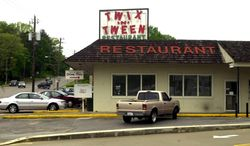 In this undated photo, The Twix n' Tween Restaurant is seen in Centreville, Ala., has been a favorite eatery for decades. Long a landmark in central Alabama, the Twix & Tween restaurant. (AP Photo/Tuscaloosa News, Joe Oliveira)