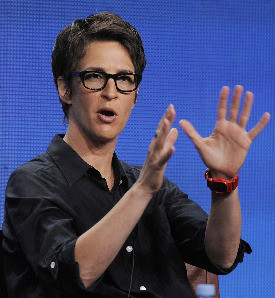 """**FILE** Rachel Maddow, host of """"The Rachel Maddow Show"""" on MSNBC, takes part in a panel discussion at the NBC Universal summer press tour in Beverly Hills, Calif., on Aug. 2, 2011. (Associated Press)"""