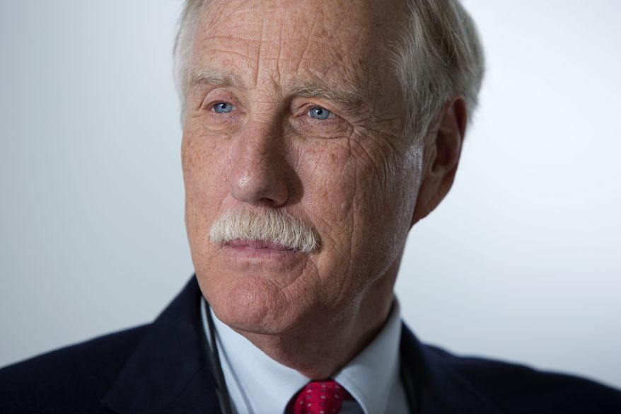 ** FILE ** Sen. Angus King, I-Maine, pauses during an interview with The Associated Press, Friday, May 3, 2013, in Portland, Maine. (AP Photo/Robert F. Bukaty)