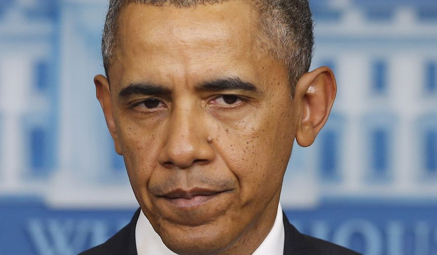 **FILE** President Barack Obama speaks about Ukraine in the James Brady Press Briefing Room at the White House in Washington, Friday, Feb. 28, 2014. (AP Photo/Charles Dharapak)