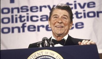 "Conservative UNITER: Ronald Reagan was one of the speakers at the Conservative Political Action Conference in 1986 and at the group's first gathering in 1974, when nearly 1,000 people listened to California's governor at the time. Stan Evans, the ACU chairman who presided over that conference, said it was simple back then: ""Are you for Reagan or not?"" (Getty Images)"