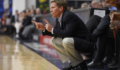 Gonzaga coach Mark Few gestures from the sideline against Saint Mary's College in the first half of an NCAA college basketball game at McKeon Pavilion in Moraga, Calif., on Saturday, March 1, 2014. (AP Photo/Contra Costa Times, Jose Carlos Fajardo) MAGS OUT  NO SALES  ARCHIVE OUT  TV OUT  BAY AREA MUST CREDIT
