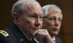 ** FILE ** Joint Chiefs Chairman Gen. Martin Dempsey, left, and Defense Secretary Chuck Hagel, appear on Capitol Hill in Washington, Wednesday, March 5, 2014, at a Senate Armed Services Committee. (AP Photo/J. Scott Applewhite)