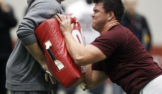 Texas A&M offensive tackle Jake Matthews competes during Texas A&M's pro day held Wednesday, March 5, 2014, in College Station, Texas.  (AP Photo/Patric Schneider)