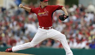 St. Louis Cardinals starting pitcher Shelby Miller throws during the first inning of an exhibition spring training baseball game against the Boston Red Sox Wednesday, March 5, 2014, in Jupiter, Fla. (AP Photo/Jeff Roberson)