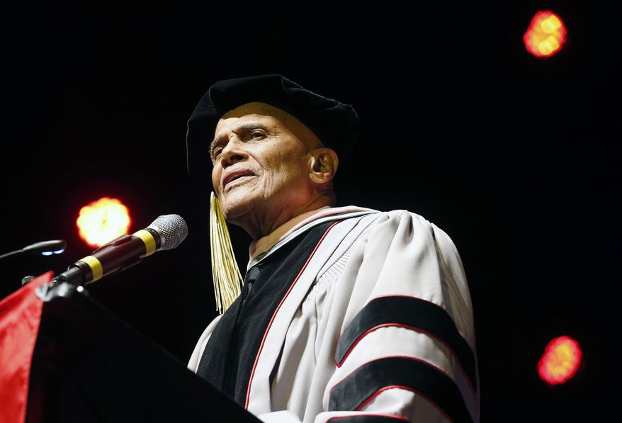 Harry Belafonte speaks after receiving an honorary doctor of music degree from Berklee College of Music at the Berklee Performance Center in Boston, Thursday, March 6, 2014. (AP Photo/Michael Dwyer)