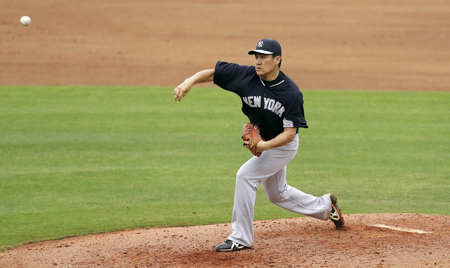 New York Yankees starting pitcher Masahiro Tanaka throws a pitch during the third inning of an exhibition baseball game against the Philadelphia Phillies, Thursday, March 6, 2014, in Clearwater, Fla. (AP Photo/Charlie Neibergall)