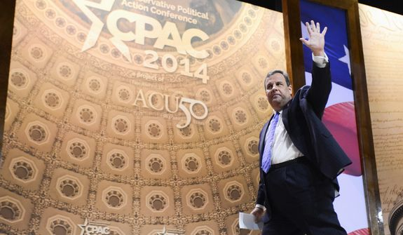 """Positive Thinking: New Jersey Gov. Chris Christie rallies activists Thursday at the Conservative Political Action Conference with a battle call for leadership in Washington. """"We can't govern if we can't win,"""" he said, walking offstage to a standing ovation. (Lloyd Villas/The Washington Times)"""