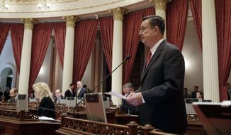 State Sen. Joel Anderson, R-Alpine, called for a floor vote to expel Democratic Sen. Rod Wright, who was recently convicted of perjury, during the Senate session in Sacramento, Calif., Thursday March 6,  2014.  The motion was ruled out of order because a similar resolution was derailed by Senate Democrats last week. Wright has been granted a leave of absence as awaits sentencing. (AP Photo/Rich Pedroncelli)