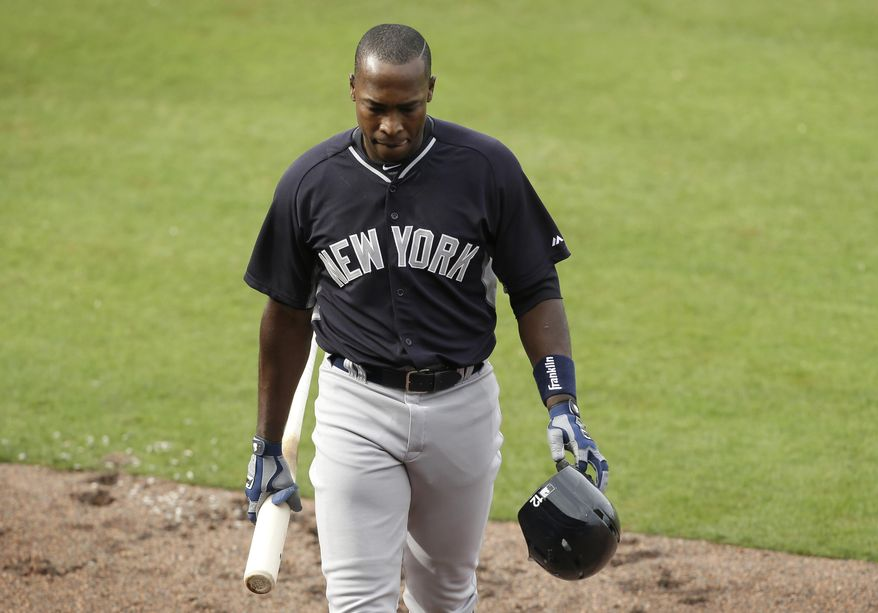 New York Yankees' Alfonso Soriano walks back to the dugout after striking out in the fifth inning of an exhibition baseball game against the Philadelphia Phillies Thursday, March 6, 2014, in Clearwater, Fla. (AP Photo/Charlie Neibergall)