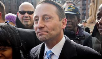 """Surrounded by supporters, New York state gubernatorial candidate Rob Astorino, center, leaves a news conference after he kicked off his campaign for the governor's race, Thursday March 6, 2014, on the steps of the Bronx County Courthouse in New York.  The Republican kicked off his campaign in the Bronx because the county has been """"forgotten economically"""" by the nation, he said, and touted his Hispanic voter base in Westchester County. The Bronx is the state's only county with a majority Hispanic population.   (AP Photo/Bebeto Matthews)"""