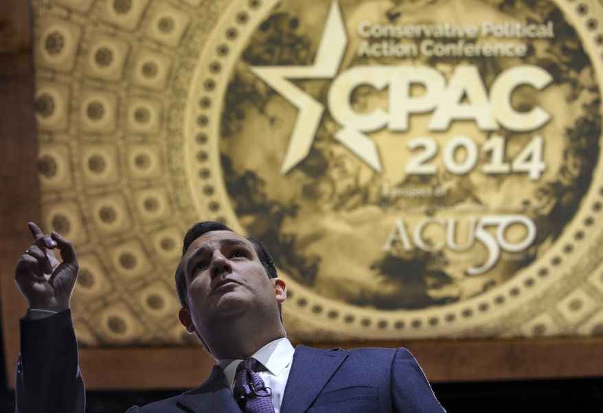 Sen. Ted Cruz, R-Texas, speaks at the Conservative Political Action Committee annual conference in National Harbor, Md., Thursday, March 6, 2014. Thursday marks the first day of the annual Conservative Political Action Conference, which brings together prospective presidential candidates, conservative opinion leaders and tea party activists from coast to coast. (AP Photo/Susan Walsh)