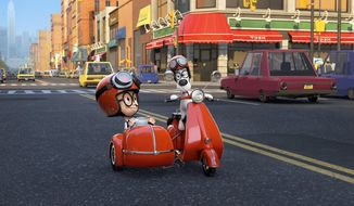 "This image released by DreamWorks Animation shows Sherman, voiced by Max Charles, left, and Mr. Peabody, voiced by Ty Burell, in a scene from ""Mr Peabody & Sherman."" (AP Photo/ DreamWorks Animation)"