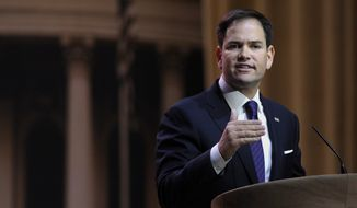 Sen. Marco Rubio, R-Fla. speaks at the Conservative Political Action Committee annual conference in National Harbor, Md., Thursday, March 6, 2014. Rubio said the US is the one nation that can rally people around the globe against the rise of totalitarian governments. (AP Photo/Susan Walsh)