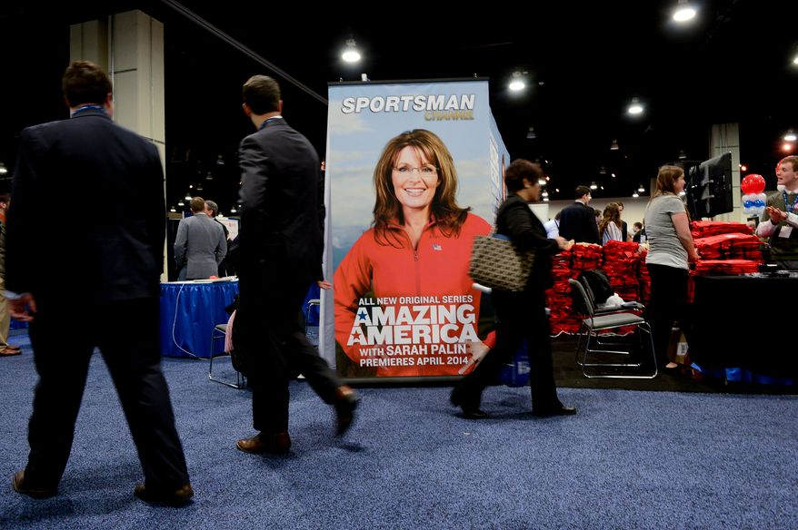 A poster of Sarah Palin hangs at the Conservative Political Action Conference (CPAC) held at the Gaylord Hotel, National Harbor, Md., Thursday, March 6, 2014. (Andrew Harnik/The Washington Times)