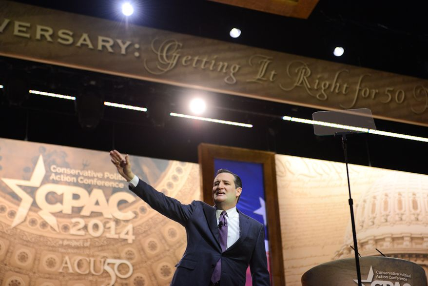 Sen Ted Cruz (R-TY) speaks at the Conservative Political Action Committee annual conference in National Harbor, Md., Thursday, March 6, 2014. Lloyd Villas/The Washington Times