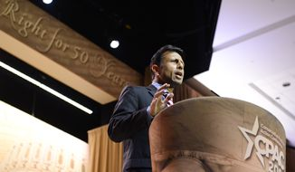 Louisiana Gov. Bobby Jindal speaks at the Conservative Political Action Committee annual conference in National Harbor, Md., Thursday, March 6, 2014. Llpyd Villas/The Washington Times