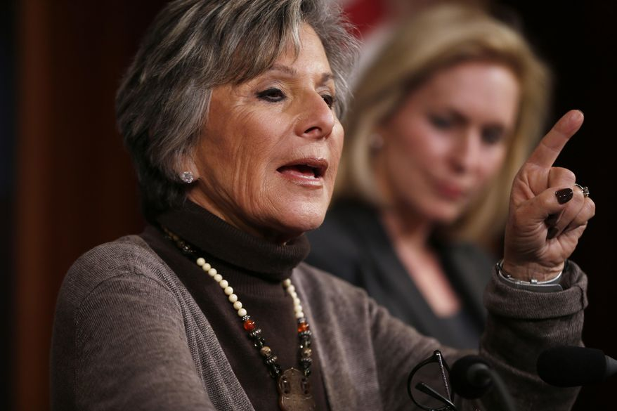 ** FILE ** Sen. Barbara Boxer, D-Calif., left, accompanied by Sen. Kirsten Gillibrand, D-N.Y., speaks during a mews conference on Capitol Hill in Washington, Thursday, March 6, 2014, following a Senate vote on military sexual assaults. (AP Photo/Charles Dharapak)
