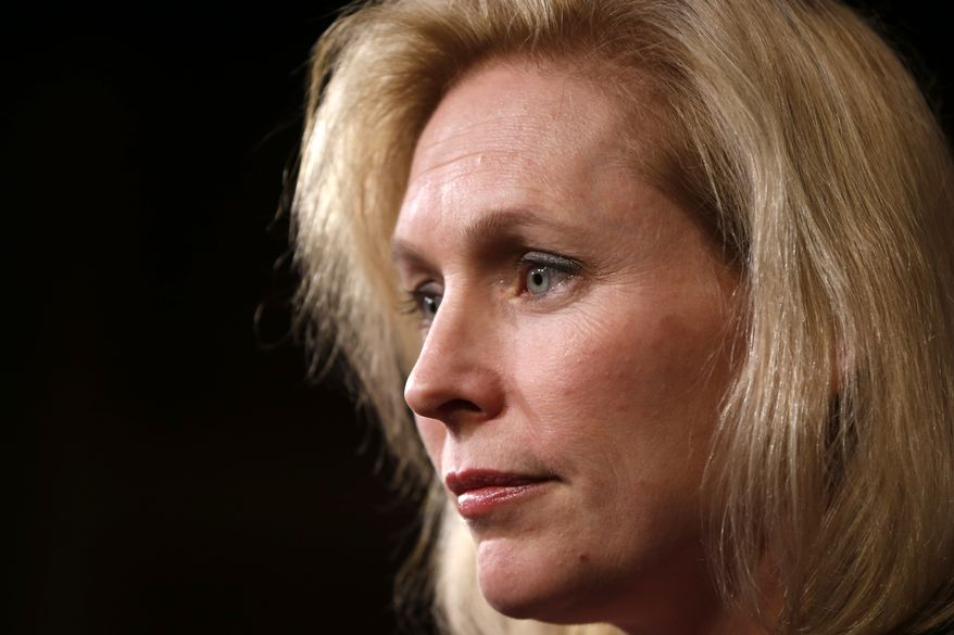 Sen. Kirsten Gillibrand, D-N.Y. speaks at a news conference on Capitol Hill in Washington, Thursday, March 6, 2014, following a Senate vote on military sexual assaults. The Senate blocked a bill that would have stripped senior military commanders of their authority to prosecute rapes and other serious offenses, capping an emotional, nearly yearlong fight over how best to curb sexual assault in the ranks. (AP Photo/Charles Dharapak)