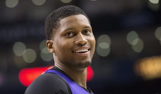 Sacramento Kings' Rudy Gay reacts during first half NBA basketball action against Toronto Raptors in Toronto on Friday March 7, 2014.  (AP Photo/The Canadian Press, Chris Young)