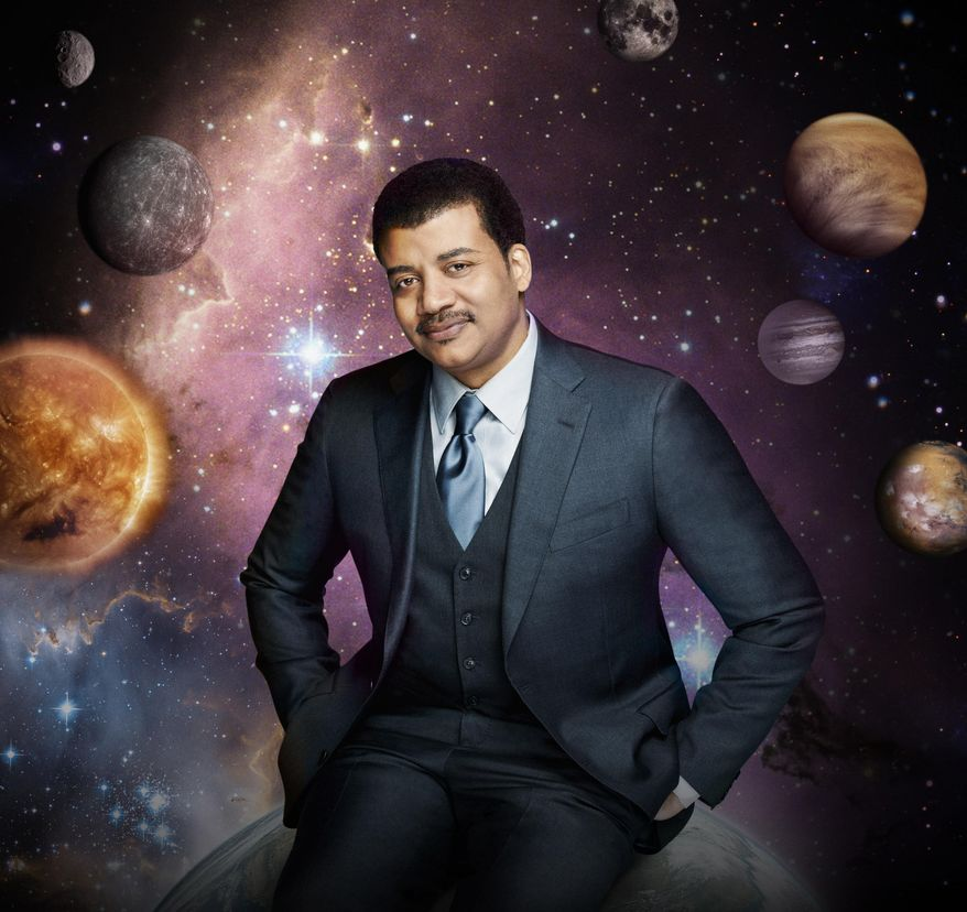 "This photo released by Fox shows Neil deGrasse Tyson, the astrophysicist who hosts the television show, ""Cosmos: A Spacetime Odyssey,"" on Fox and simultaneously across multiple U.S. Fox networks. (AP Photo/Fox, Patrick Eccelsine) ** FILE **"