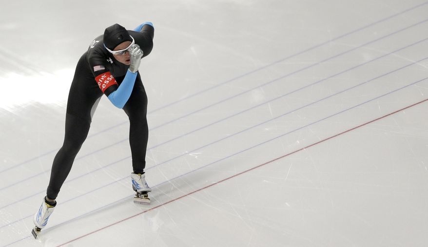 Brittany Bowe of the United States competes during the women's 1500m race at the speed skating World Cup in Inzell, southern Germany, Friday, March 7, 2014. Bowe placed third. (AP Photo/Matthias Schrader)