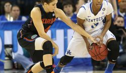 Florida guard Carlie Needles (4) tries to steal the ball from Kentucky guard Janee Thompson (3) in the first half of a quarterfinal women's Southeastern Conference tournament NCAA college basketball game Friday, March 7, 2014, in Duluth, Ga. (AP Photo/Jason Getz)