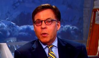 Bob Costas appears with pink eye during the Olympics in this NBC screen grab.